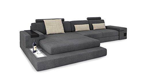 Ecksofa couch wohnlandschaft stoffsofa l form grau creme for Eckcouch mit led
