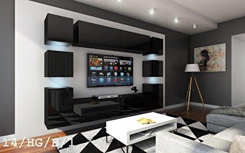 Future 14 wohnwand anbauwand wand schrank m bel tv schrank for Wohnzimmerschrank schwarz hochglanz