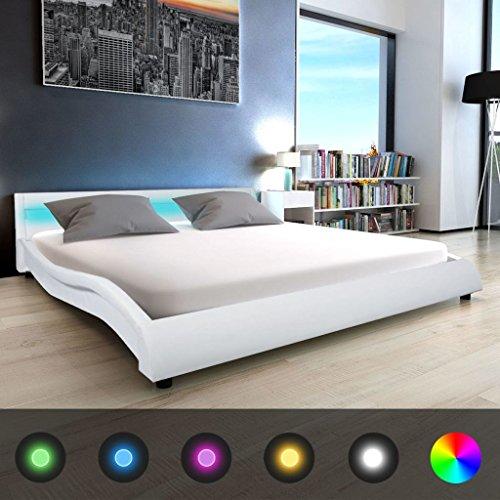 festnight polsterbett bett doppelbett ehebett mit led und matratze 180x200 cm kunstleder wei 0. Black Bedroom Furniture Sets. Home Design Ideas