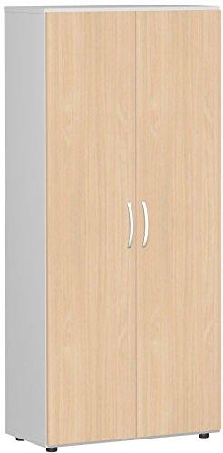 Flügeltürenschrank, Büroschrank aus Holz, mit Standfüßen, inkl. Türdämpfer, abschließbar, 800x420x1808, Buche/Lichtgrau, Geramöbel