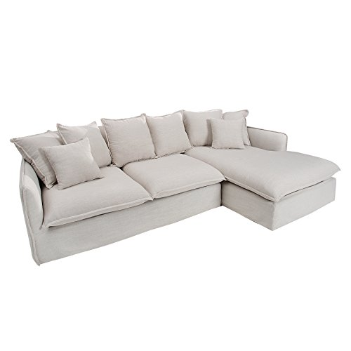 gro es ecksofa heaven 255cm leinenstoff in natur leinen couch eckcouch sofa m bel24. Black Bedroom Furniture Sets. Home Design Ideas