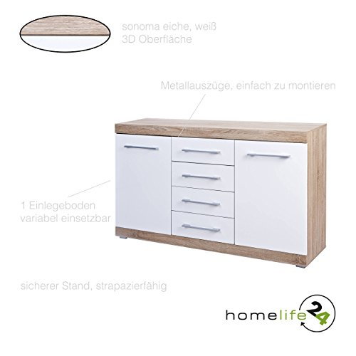 kommode mit 2 t ren 4 schubladen mit metallausz gen sonoma eiche wei hochglanz sideboard. Black Bedroom Furniture Sets. Home Design Ideas