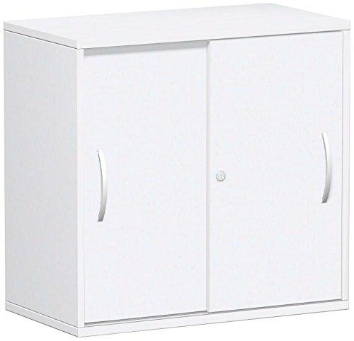 Schiebetürenschrank Büro, Büroschrank aus Holz,Oberboden 25 mm, mit Standfüßen, abschließbar, 800x425x798, Weiß/Weiß, Geramöbel
