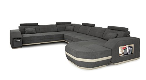 sofa couch wohnlandschaft xxl stoffsofa grau modern designsofa ecksofa u form eckcouch mit led. Black Bedroom Furniture Sets. Home Design Ideas