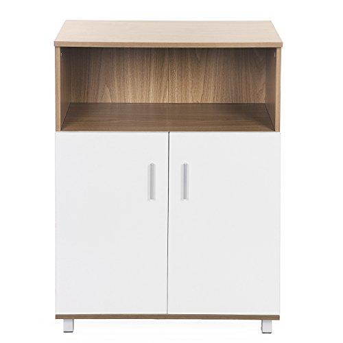 Songmics MDF Aktenschrank Büroschrank Bücherregal mit Türen 70 x 93 x 40 cm (B x H x T)