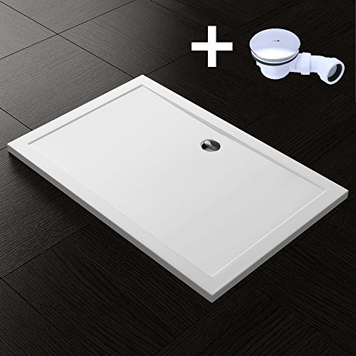 TBH: 70x100x4cm Design Duschtasse Faro2 in Weiß, inkl. Ablaufgarnitur AL02, Duschwanne, Acrylwanne