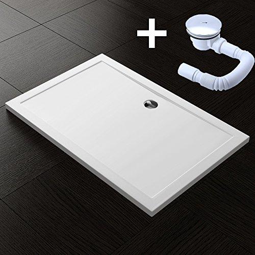 TBH: 70x80x4cm Design Duschtasse Faro2 in Weiß, inkl. Ablaufgarnitur AL01, Duschwanne, Acrylwanne