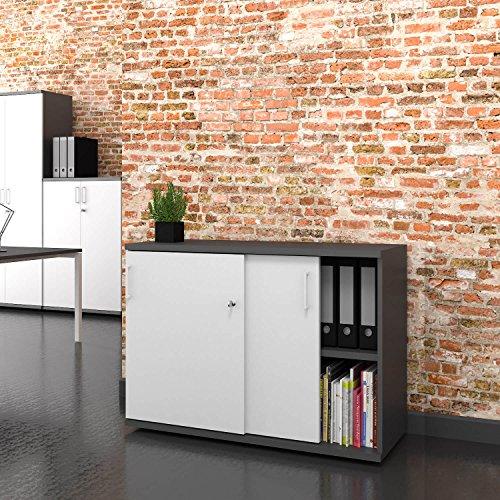UNI Schiebetürenschrank 1 Meter breit abschließbar 2OH Weiß-Anthrazit Schrank Büroschrank