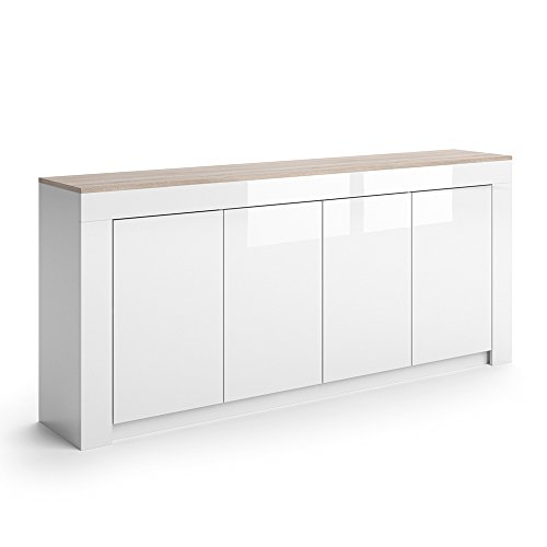 vicco sideboard roma in wei hochglanz 190 cm kommode schrank anrichte diele flur highboard. Black Bedroom Furniture Sets. Home Design Ideas