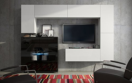 wohnwand future 8 anbauwand moderne wohnwand matt schwarz wei exklusive mediam bel tv schrank. Black Bedroom Furniture Sets. Home Design Ideas
