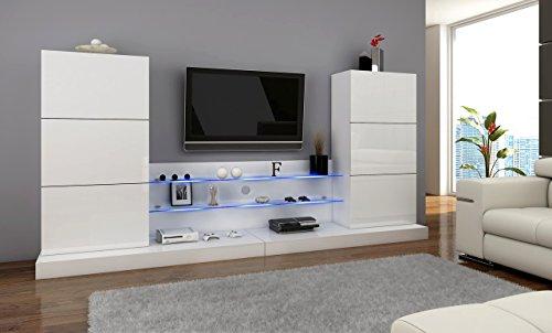 wohnwand ulm anbauwnad wohnzimmer set mit led beleuchtung m bel24. Black Bedroom Furniture Sets. Home Design Ideas