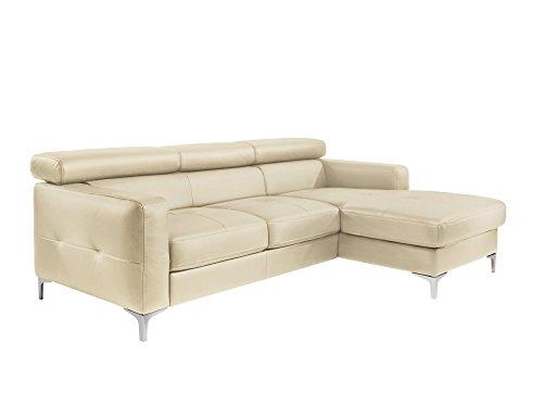 Cotta Y363562 H351 Polsterecke in weichem Kunstleder, Bettfunktion und Bettkasten, 226 x 169 cm, creme, Recamiere rechts mit chromfarbenen Fuss