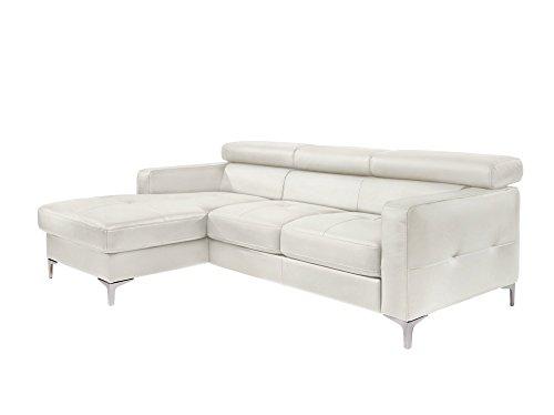 Cotta Y363563 H350 Polsterecke in weichem Kunstleder, Bettfunktion und Bettkasten 169 x 226 cm, weiß, Recamiere links mit chromfarbenen Fuss