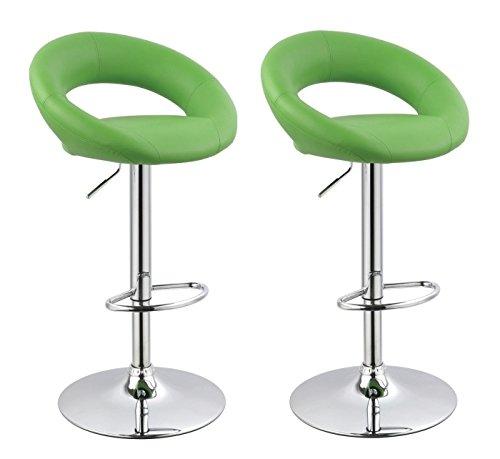 2er Set Barhocker Grün gepolstert mit Lehne Höhenverstellung aus Kunstleder Duhome 0316