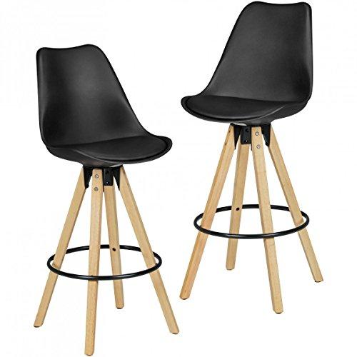 2er Set Barhocker Schwarz Retro Design Kunstleder Holz mit Lehne | Design Barstuhl Retro Skandinavisch 2 Stück | Tresenhocker Sitzhöhe 72 cm