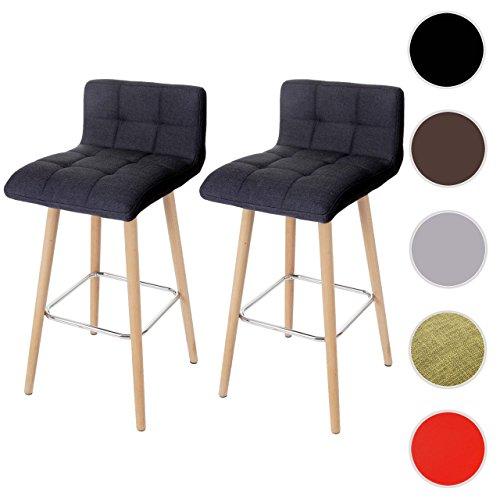 2x Barhocker Malmö T430, Barstuhl Tresenhocker, Retro-Design Holz ~ anthrazit, Textil