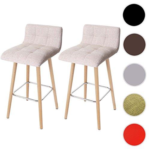 2x Barhocker Malmö T430, Barstuhl Tresenhocker, Retro-Design Holz ~ creme, Textil