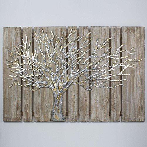 3D Metallbild auf Holzuntergund Wandbild Écorce Wanddeko 120x80cm Relief Handarbeit