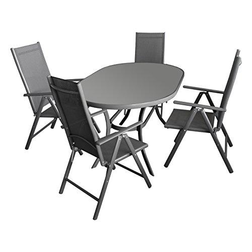 5tlg. Gartengarnitur Terrassenmöbel Gartenmöbel Set Sitzgruppe Sitzgarnitur Aluminium Glastisch oval 140x90cm + 4x Hochlehner 2x2 Textilen