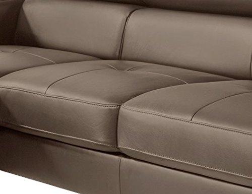 Cotta Y363563 H356 Polsterecke in weichem Kunstleder, Bettfunktion und Bettkasten 169 x 226 cm, schlamm, Recamiere links mit chromfarbenen Fuss