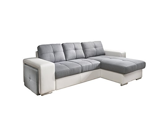 Cotta C209660 C311/D200 Polsterecke mit Schlaffunktion und Bettkasten, Kunstleder, 278 x 157 cm, weiß / Strukturstoff grau