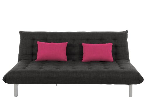 AC Design Furniture 42025 Schlafsofa Vibeke, Webstoff anthrazit, 2 Kissen pink