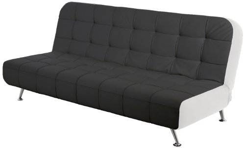 AC Design Furniture 50130 Schlafsofa Joost, Bezug Kunstleder schwarz, Seiten Kunstleder weiß, Liegefläche: ca. 192 x 116 / 192 x 86 x 90 cm