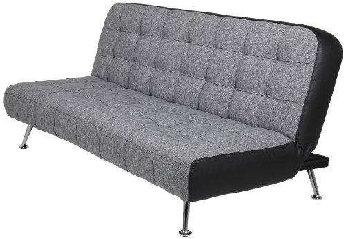 AC Design Furniture 50131 Schlafsofa Joost, Bezug Stoff dunkelgrau, Seiten Kunstleder schwarz, Liegefläche: ca. 192 x 116 / 192 x 86 x 90 cm