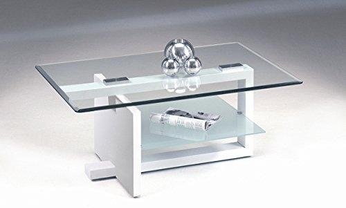 Agionda ® Couchtisch Castell hochglanz weiss lackiert 100 x 60 cm Tischplatte mir umlaufender Facette