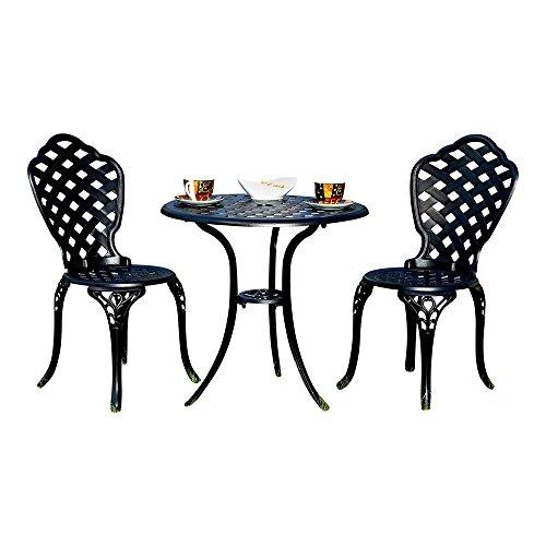 Aluminium 3er Set Gartenmöbel 2 Stühle + Tisch Schwarz Antik Sitzgarnitur Bistro