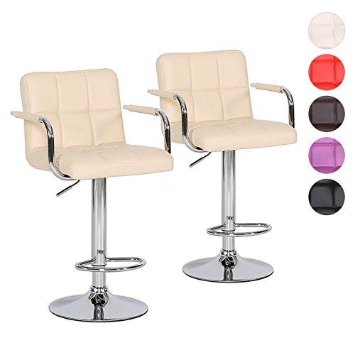 Barhocker 2er Set mit Armlehnen Tresen-Stuhl höhenverstellbar - Polsterung Kunstleder Farbwahl