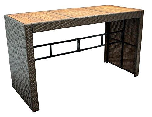 Bartisch CORTINA 185x80cm, Höhe 110cm, Metallgestell + Polyrattan braun, Tischplatte Akazie
