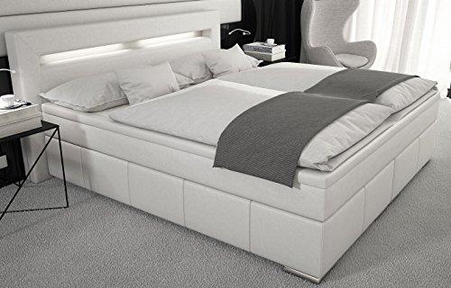 """""""Box"""" Boxspringbett 180x200 / Bett inkl. LED / Doppelbett / Hotelbett / Designerbett / Kunstleder weiß"""
