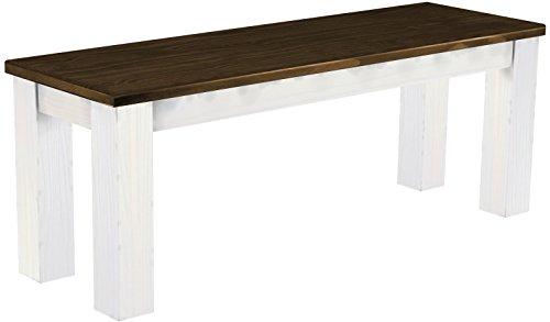 Brasilmöbel Sitzbank 'Rio Classico' 120 cm, Pinie Massivholz, Farbton Eiche antik - Weiß