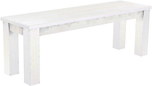 Brasilmöbel Sitzbank 'Rio Classico' 130 x 38 x 44 cm, Pinie Massivholz, Farbton Weiß