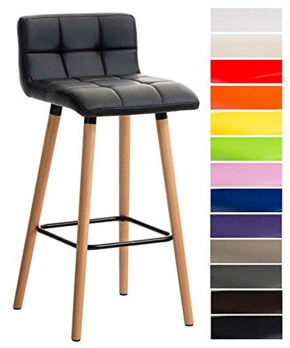 CLP Barhocker LINCOLN gesteppt mit Kunstleder-Bezug, Buchenholz-Gestell, Sitzhöhe 75 cm, Thekenhocker mit Rückenlehne + Fußstütze für optimalen Komfort