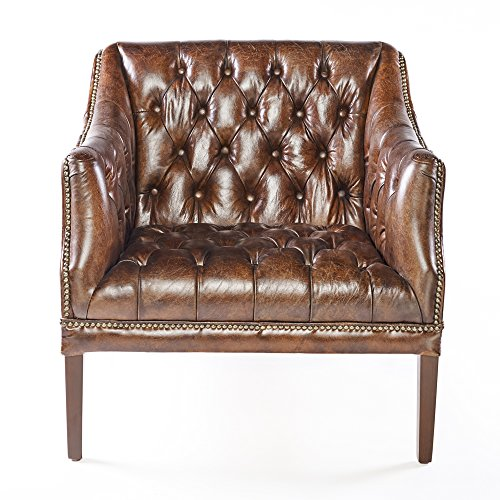 Chesterfield Ledersessel Braun Vintage Antik Look Sessel Lounge Leder Clubsessel mit Nietenbesatz 464