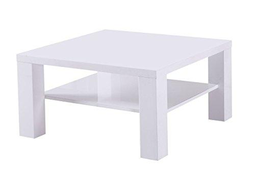 Couchtisch Dakoro 11, Farbe: Weiß Hochglanz - Abmessungen: 45 x 80 x 80 cm (H x B x T)