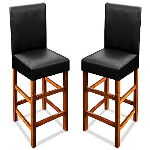 Deuba® 2er Set Barhocker Barstuhl ✔mit Lehne ✔massives Holzgestell aus Akazienholz ✔Leder-Optik Hocker Tresenstuhl Barstuhl Stuhl