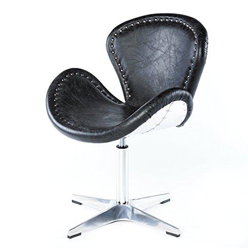 Echtleder Vintage Ledersessel Schwarz Design Sessel Loft Drehsessel Lounge Clubsessel Möbel NEU 637