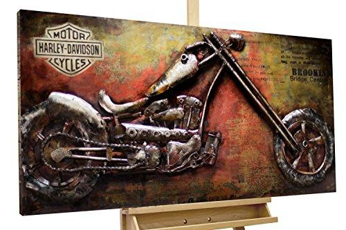 Extravagantes KunstLoft® Metallbild 3D 'Outlaw Bike'120x60x7cm | Design Wanddeko XXL handgefertigt | Unikat Luxus Wandskulptur | Motorrad Rot Gelb USA Route 66 Reisen | Wandbild Relief modern