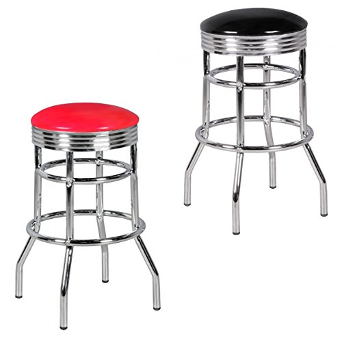 FineBuy Barhocker KING American Diner Retro Design Kunstleder Metall | Design Barstuhl Retro 50er Jahre | Tresenhocker Sitzhöhe 71 cm