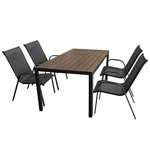 Gartenmöbel-Set Aluminium Gartentisch mit Polywood-Tischplatte 150x90cm + 4x Stapelstuhl mit anthrazitfarbener Textilenbespannung, Gestell pulverbeschichtet Schwarz