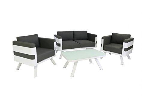 Gartenmöbel Set aus Aluminium - Loungemöbel 4-teilig weiß - inkl. Kissen anthrazit - Lounge für Outdoor und Indoor - 2er Sofa + Tisch + 2 Sessel Sitzgruppe