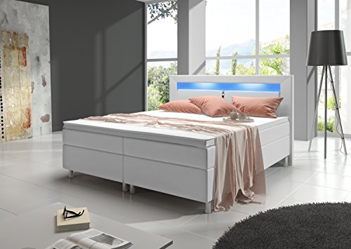 Home Collection24 Boxspringbett 180x200 cm mit Bonell Federkernmatratze Topper in H3 Hotelbett Doppelbett LED Beleuchtung