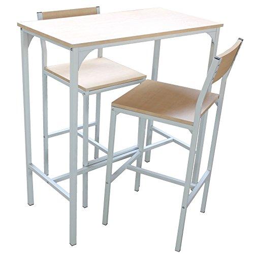 Jesolo Set Bar Tisch und 2 Hocker Möbel Hocker Weiß und helles Holz gefärbt