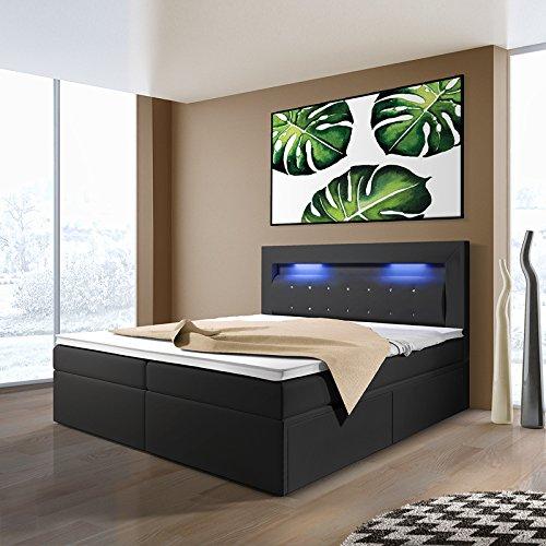 milos boxspringbett mit leds in der gr e und ausf hrung nach wahl 2 schubladen m bel24. Black Bedroom Furniture Sets. Home Design Ideas