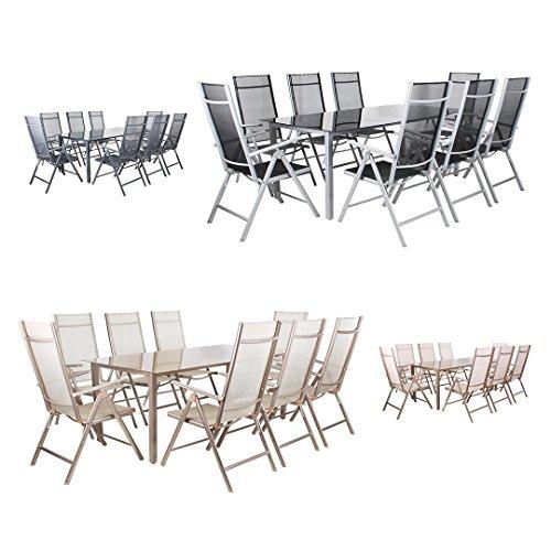 miweba moreno 8 1 aluminium sitzgarnitur 190x100 alu gartenm bel 8 st hle sitzgruppe tisch glas. Black Bedroom Furniture Sets. Home Design Ideas