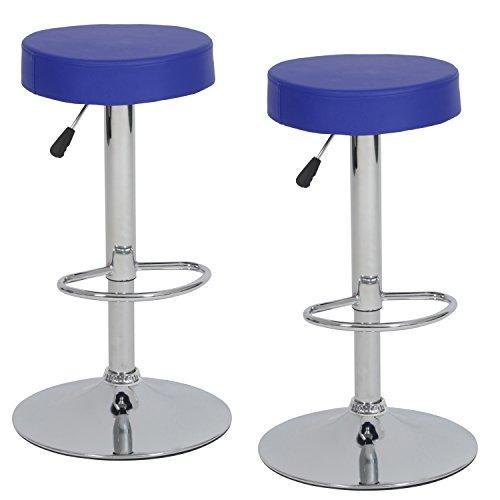 Ribelli Barhocker höhenverstellbar 2er Set rund, 360° drehbar-als Barstuhl sowie Tresenhocker-mit Kunstleder-Polster und Chromgestell - verschiedene Farben