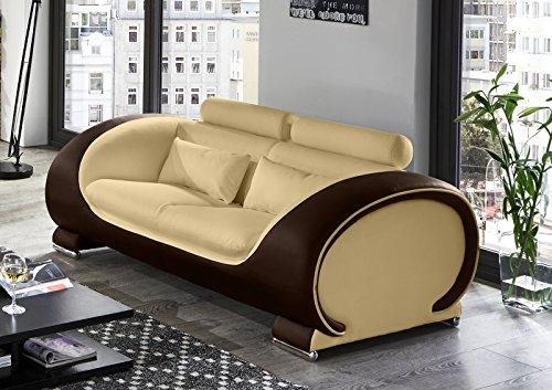 SAM 2-Sitzer Sofa Vigo, creme / braun, Couch aus Kunstleder